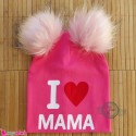 کلاه کشی پوم پوم آی لاو ماما صورتی I Love mama baby poom poom hat