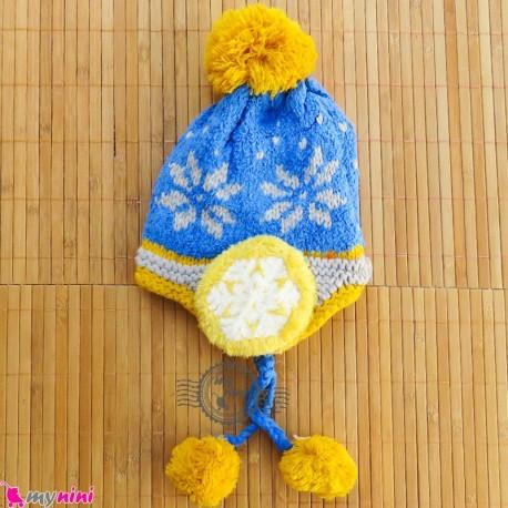 کلاه بافتنی نوزاد و کودک 2 لایه رو گوشی آبی Baby warm hat