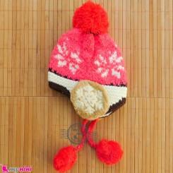 کلاه بافتنی نوزاد و کودک 2 لایه رو گوشی صورتی Baby warm hat