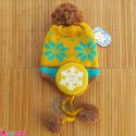 کلاه بافتنی نوزاد و کودک 2 لایه رو گوشی زرد Baby warm hat
