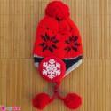 کلاه بافتنی نوزاد و کودک 2 لایه رو گوشی قرمز Baby warm hat