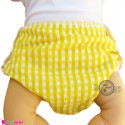 شورت دکمه ای ضد آب نوزاد و کودک 2 لایه زرد چهارخانه baby waterproof pants