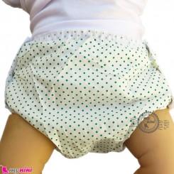 شورت دکمه ای ضد آب نوزاد و کودک 2 لایه خالدار سبز baby waterproof pants