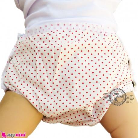 شورت دکمه ای ضد آب نوزاد و کودک 2 لایه خالدار قرمز baby waterproof pants