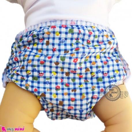 شورت دکمه ای ضد آب نوزاد و کودک 2 لایه چهارخانه طرحدار آبی baby waterproof pants