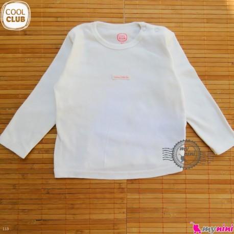 بلوز پنبه ای مارک کول کلاب 12 ماه cool club Long Sleeve Side Snap Shirts