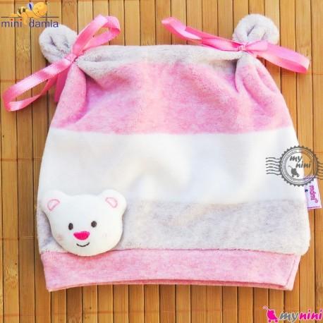 کلاه گرم نوزاد و کودک مارک مینی داملا ترکیه صورتی mini damla Baby warm hat