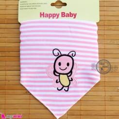 دستمال گردن نوزاد و کودک 2 لایه صورتی راه راه پروانه Baby Triangle cotton bibs
