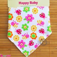 دستمال گردن نوزاد و کودک 2 لایه زنبور و گل Baby Triangle cotton bibs