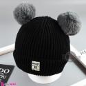 کلاه بافتنی پوم پوم نوزاد و کودک 2 لایه مارک مون لایت مشکی Moon light Baby warm hat