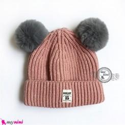 کلاه بافتنی پوم پوم نوزاد و کودک 2 لایه مارک مون لایت صورتی Moon light Baby warm hat