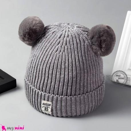 کلاه بافتنی پوم پوم نوزاد و کودک 2 لایه مارک مون لایت طوسی Moon light Baby warm hat