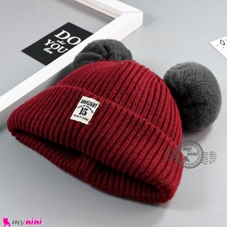 کلاه بافتنی پوم پوم نوزاد و کودک 2 لایه مارک مون لایت قرمز Moon light Baby warm hat