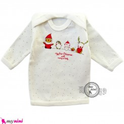 بلوز آستین بلند پنبه ای آدم برفی Snow man baby clothes