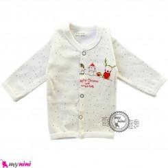 بلوز جلو دکمه دار نوزاد و کودک پنبه ای آدم برفی Snow man baby clothes