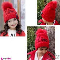 کلاه بافتنی پوم نوزاد و کودک 2 لایه مارک گِت اینسپایرِد رنگ قرمز Get inspired pom Baby warm hat