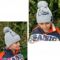 کلاه بافتنی پوم نوزاد و کودک 2 لایه مارک گِت اینسپایرِد رنگ طوسی Get inspired pom Baby warm hat