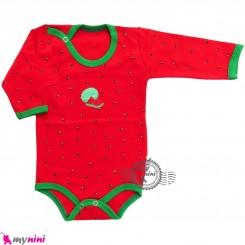 آستین بلند زیردکمه دار پنبه ای طرح هندوانه cute watermelon baby clothes