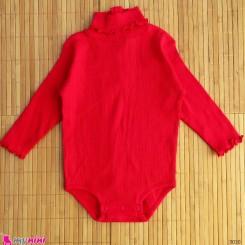 بلوز آستین بلند زیردکمه دار پنبه ای بچگانه قرمز Kids long sleeve bodysuits
