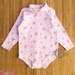 بلوز آستین بلند زیردکمه دار پنبه ای بچگانه صورتی گلدار Kids long sleeve bodysuits