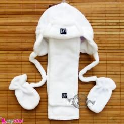 ست کلاه شال دستکش گرم سفید Baby warm hat set