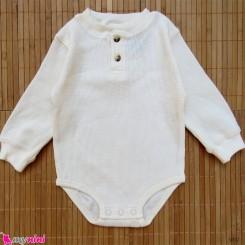 بلوز آستین بلند زیردکمه دار پنبه ای بچگانه شیری Kids long sleeve bodysuits