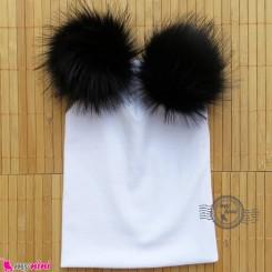 کلاه کشی سفید پوم پوم مشکی نوزاد و کودک baby cotton pom pom hat