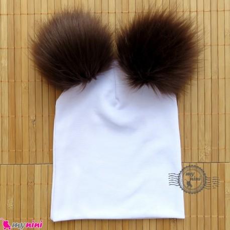 کلاه کشی سفید پوم پوم قهوه ای نوزاد و کودک baby cotton pom pom hat