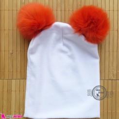 کلاه کشی سفید پوم پوم نارنجی نوزاد و کودک baby cotton pom pom hat