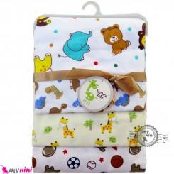 خشک کن پنبه ای نوزاد و کودک 4 عددی برند فَشن بِیبی حیوانات Fashion baby newborn blankets
