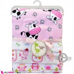 خشک کن پنبه ای نوزاد و کودک 4 عددی برند فَشن بِیبی صورتی گاو Fashion baby newborn blankets