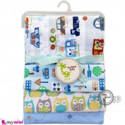 خشک کن پنبه ای نوزاد و کودک 4 عددی برند فَشن بِیبی نقاشی ماشین Fashion baby newborn blankets