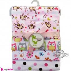 خشک کن پنبه ای نوزاد و کودک 4 عددی برند فَشن بِیبی صورتی میمون Fashion baby newborn blankets