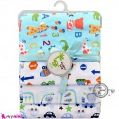 خشک کن پنبه ای نوزاد و کودک 4 عددی برند فَشن بِیبی اعداد انگلیسی Fashion baby newborn blankets