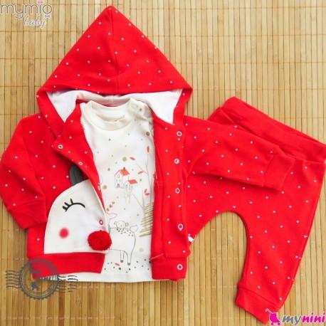 ست 3 تکه سویشرت کلاهدار مارک مای میو ترکیه طرح کریسمس Mymio baby clothes set