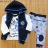ست 3 تکه جلیقه گرم کلاهدار نسیکسز ترکیه طرح فضایی سُرمه ای آبی Turkish necixs baby clothes set