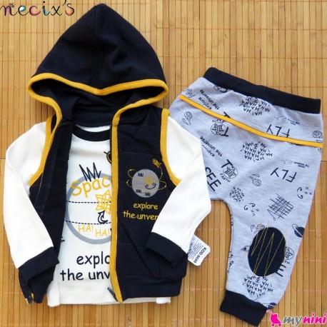 ست 3 تکه جلیقه گرم کلاهدار نسیکسز ترکیه طرح فضایی سُرمه ای زرد Turkish necixs baby clothes set