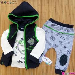 ست 3 تکه جلیقه گرم کلاهدار نسیکسز ترکیه طرح فضایی سُرمه ای سبز Turkish necixs baby clothes set