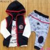 ست 3 تکه جلیقه گرم کلاهدار نسیکسز ترکیه طرح فضایی سُرمه ای قرمز Turkish necixs baby clothes set
