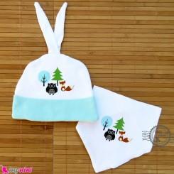 کلاه و دستمال گردن پنبه ای فیروزه ای جغد و روباه Baby cotton hat and bib set