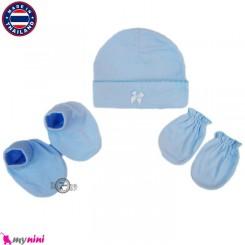 کلاه، دستکش، پاپوش آبی نوزادی تایلندی Newborn Set