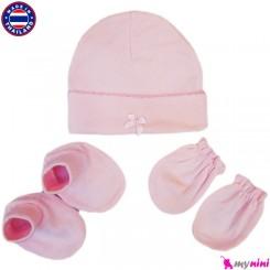کلاه، دستکش، پاپوش صورتی نوزادی تایلندی Newborn Set