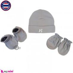کلاه، دستکش، پاپوش طوسی نوزادی تایلندی Newborn Set