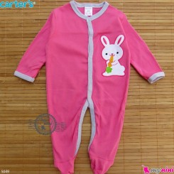 سرهمی کارترز پنبه ای نوزاد و کودک صورتی خرگوش 3 ماه Carter's baby bodysuit