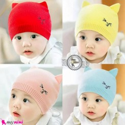 کلاه بافت نرم 2 لایه نوزاد و کودک گوشدار گربه Baby cute cat warm hat