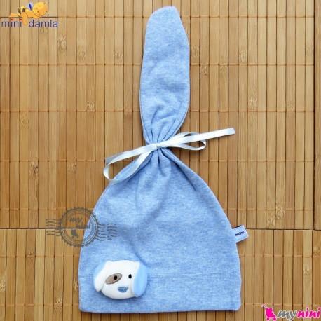 کلاه گرم نوزاد و کودک مارک مینی داملا ترکیه آبی mini damla Baby warm hat