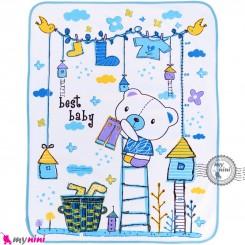 زیرانداز تعویض نوزاد دو رو حوله ای نایلونی آبی طرح خرسی سایز بزرگ Newborn Mat