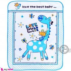 زیرانداز تعویض نوزاد دو رو حوله ای نایلونی آبی طرح زرافه سایز بزرگ Newborn Mat