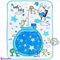 زیرانداز تعویض نوزاد دو رو حوله ای نایلونی آبی طرح خرگوش و ستاره سایز بزرگ Newborn Mat