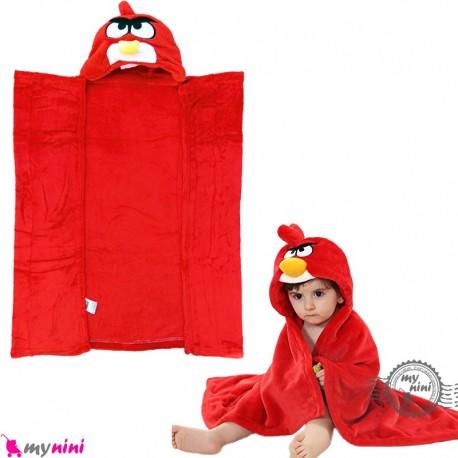 پتو کلاهدار عروسکی نوزاد و کودک قرمز انگری بِرد baby hooded fleece blanket خرید سیسمونی و لوازم کودک